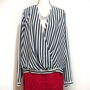 Black White Stripped Cross Over Blouse
